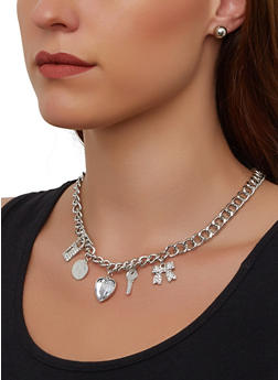 Lock and Key Charm Necklace and Bracelet with Stud Earrings - 3138072697685