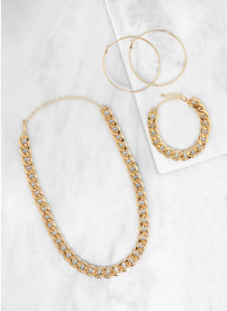 Curb Chain Necklace and Bracelet with Hoop Earrings | 3138072697844 - 3138072697844