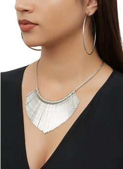 Textured Metallic Cuff with Stick Fringe Necklace and Hoop Earrings - 3138072698052