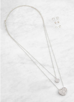 Layered Heart Charm Necklace and Stud Earrings Set - 3138072699244