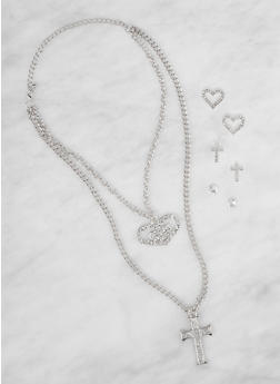 Layered Rhinestone Necklace and Stud Earrings Set - 3138073840671