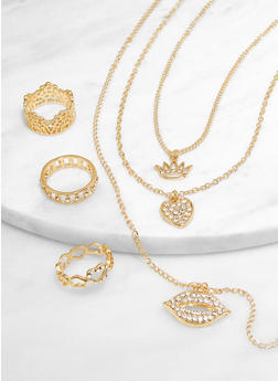 Layered Crown Charm Necklace with Ring Trio - 3138073840741