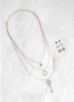 Rhinestone Charm Layered Necklace with Stud Earrings - 3138073842006