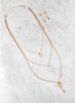 Layered Key Charm Necklace and Stud Earrings - 3138073842556