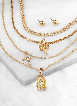 Religious Rhinestone Charm Layered Necklace with Earrings - 3138073843317