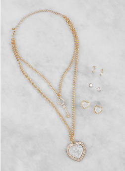 Layered Charm Necklace and Stud Earrings Set - 3138073846016