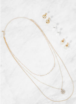 Layered Charm Necklace and Reversible Stud Earrings - 3138073846039