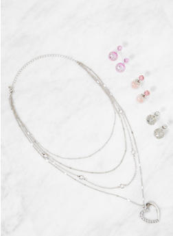 Layered Necklace with Reversible Earring Trio - 3138073846045
