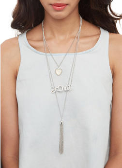 Layered Necklace and Stud Earrings - 3138073846548