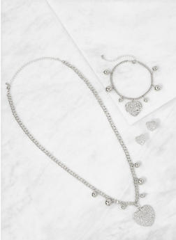 Heart Charm Necklace with Bracelet and Earrings - 3138073846549