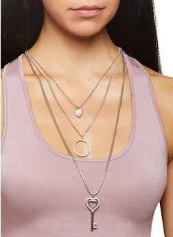 Key Charm Layered Necklace with Stud Earrings - 3138073846552