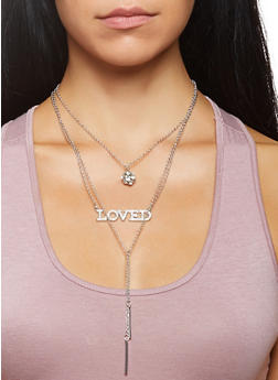 Layered Charm Necklace and Stud Earrings Set - 3138073846557