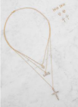 Rhinestone Cross Charm Necklace and Stud Earrings Set - 3138073846609