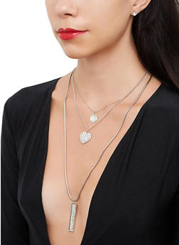 Heart Layered Necklace and Matching Stud Earrings - 3138073846880