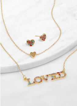 Loved Layered Necklace with Earrings - 3138073847033