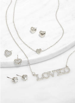 Loved Layered Necklace with Stud Earrings Set - 3138073847158