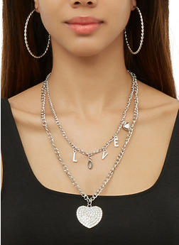 Layered Heart Love Necklace and Hoop Earrings Set - 3138073849106