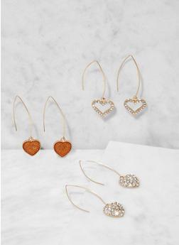 Rhinestone Heart Threader Earring Trio - 3138073849285