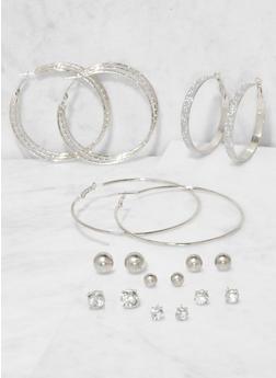 Set of 9 Assorted Stud and Hoop Earrings - 3138073849781