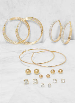 Set of 9 Assorted Stud and Hoop Earrings - 3138073849781