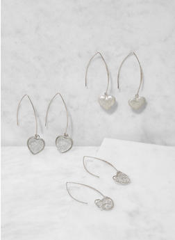 Heart Threader Earring Trio - 3138073849782