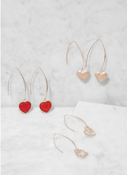 Heart Threader Earring Trio - 3138073849782