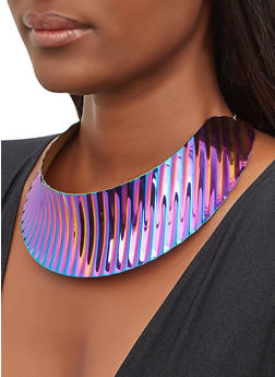 Multi Color Metallic Collar Necklace - 3138074140262