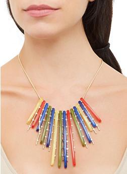 Stick Fringe Bib Necklace - 3138074140517