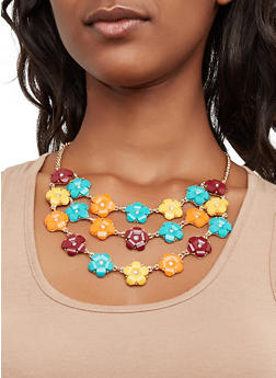 Beaded Flower Necklace and Earrings - 3138074141184