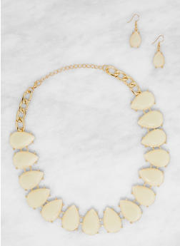 Gem Teardrop Collar Necklace with Earrings - 3138074141186