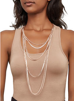Layered Metallic Necklace and Drop Earrings Set - 3138074141218