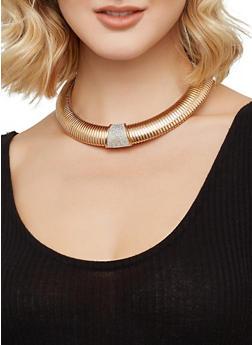 Metallic Collar Necklace with Stud Earrings - 3138074141220