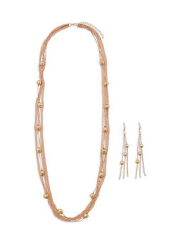Metal Beaded Layered Necklace with Matching Drop Earrings - 3138074142206