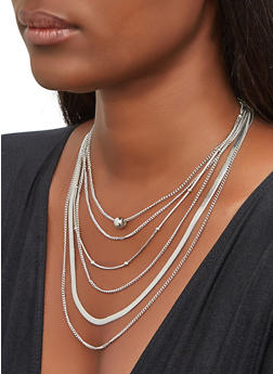 Metallic Beaded Layered Necklace with Earrings - 3138074143140