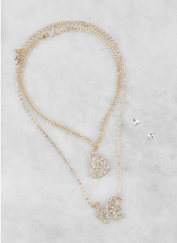 Charm Necklaces with Stud Earrings - 3138074170917