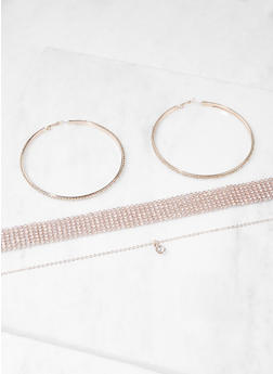 Rhinestone Choker and Charm Necklace with Hoop Earrings - 3138074171080