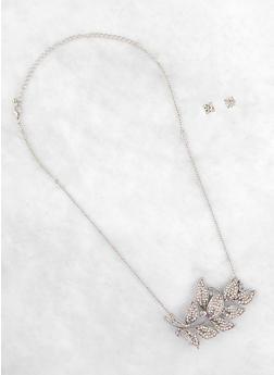 Rhinestone Leaf Necklace and Stud Earrings - 3138074171823