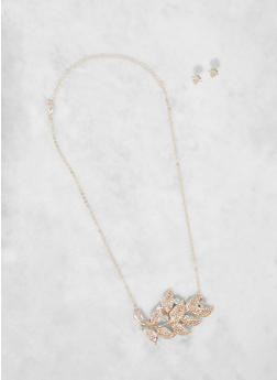Rhinestone Leaf Necklace and Stud Earrings - 3138074171823