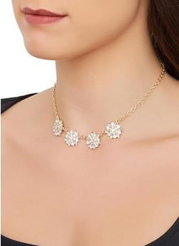 Rhinestone Flower Necklace - 3138074172621