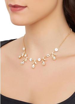 Rhinestone Teardrop Necklace - 3138074172622