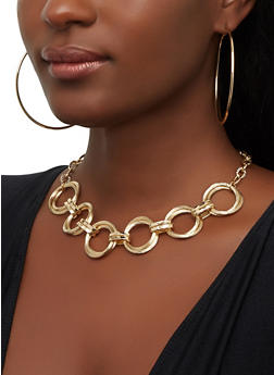 Circular Chain Link Necklace and Hoop Earrings - 3138074373293