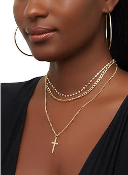 Cross Charm Choker Set with Hoop Earrings - 3138074374302