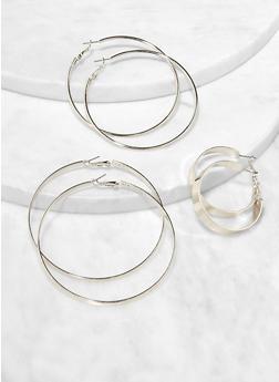 Trio of Metallic Hoop Earrings - 3138074374990