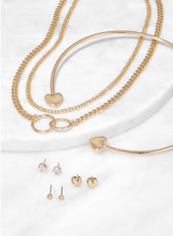 Heart Collar Chain Necklaces and Earrings - 3138074376400
