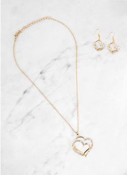 Double Heart Necklace and Earrings - 3138074754941