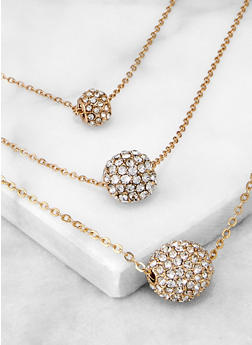 Rhinestone Ball Charm Layered Chain Necklace - 3138074974003