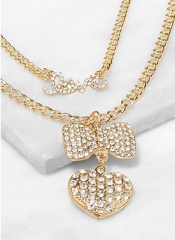 Rhinestone Bow Heart Layered Necklace - 3138074974004