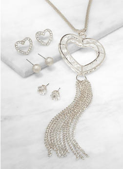 Heart Chain Fringe Necklace with Stud Earring Trio - 3138074974056