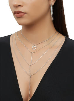 Layered Necklace and Hoop Earring Trio - 3138074974058