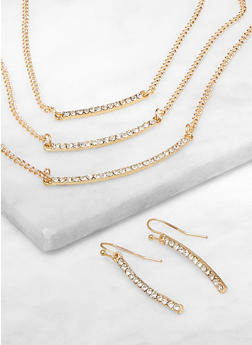Layered Rhinestone Stick Necklace and Earrings - 3138074974060